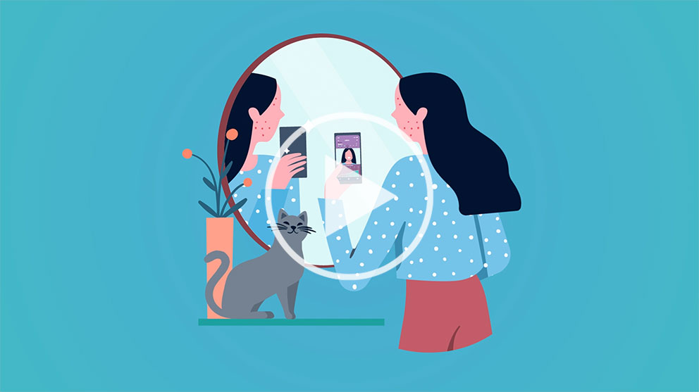 Illustraion of a girl or woman looking into a mirror holding a phone with the myForte app.